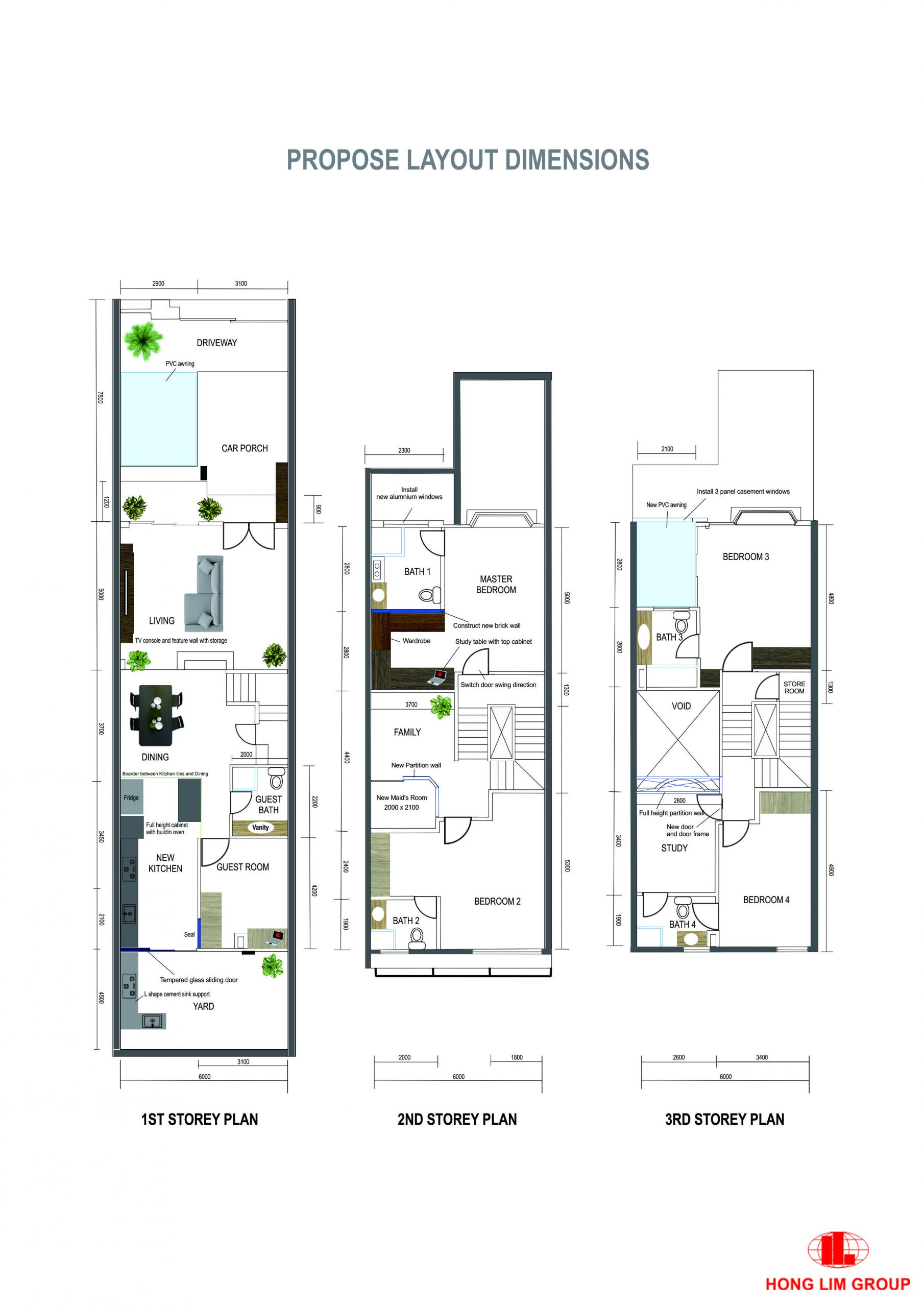 Propose Layout Floor Plan with dimension Landed